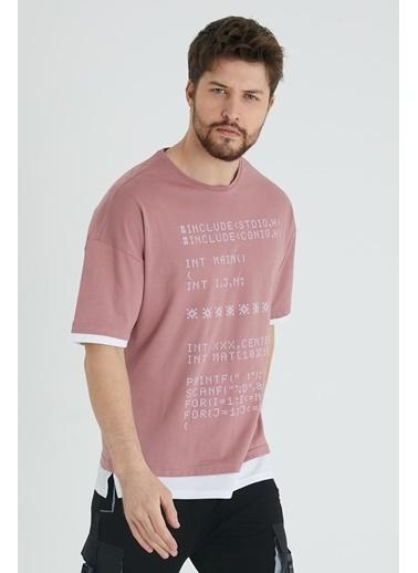 XHAN Eflatun Kabartma Baskılı T-Shirt 1Kxe1-44645-24 Mor